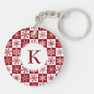 Traditional Family Christmas Red Snowflake Pattern Acrylic Key Chain