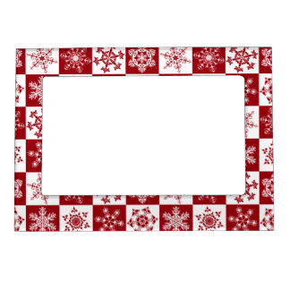 Traditional Family Christmas Red Snowflake Pattern Magnetic Frame