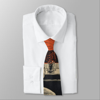 Traditional Family Life Vintage Retro Orange Black Neck Tie