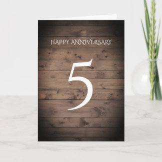 Traditional Fifth Wedding Anniversary Card Wood