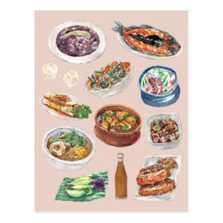 Traditional Filipino Food in Watercolor Pinoy Postcard