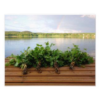 Traditional Finnish sauna whisks photo print