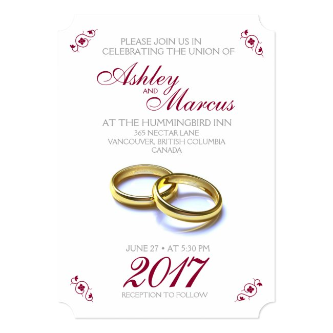 Traditional Floral and Rings Wedding Invitation