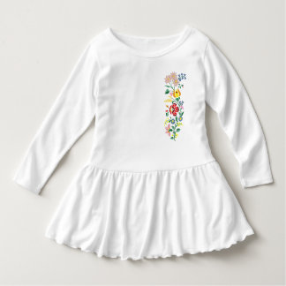 Traditional flower Embroidery Toddler Ruffle Dress