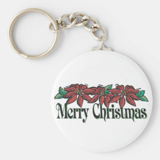 Traditional Flowers Merry Christmas Key Chain