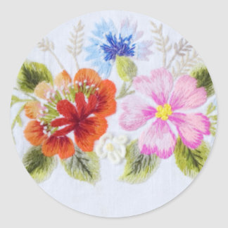 Traditional Flowers Round Stickers
