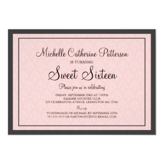Traditional Formal Pink & Black Sweet Sixteen Part Card