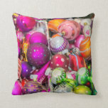 Traditional Glass Ornaments At Christmas Market Throw Pillow