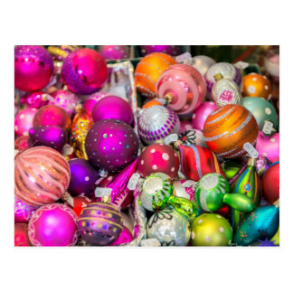 Traditional Glass Ornaments At Christmas Market Postcard
