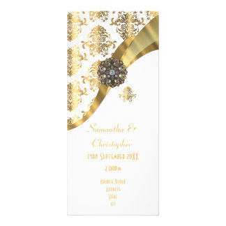 Traditional gold and white church wedding program full color rack card