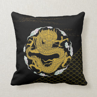 Traditional Gold Dragon Throw Pillow