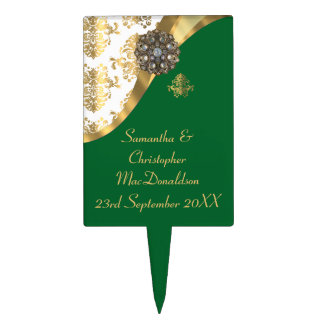 Traditional gold, green and white damask wedding cake topper