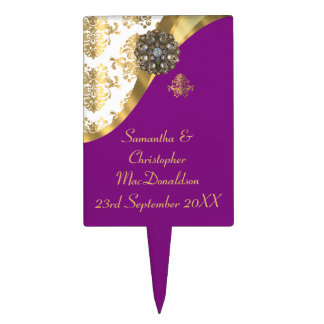 Traditional gold, purple and white damask wedding cake topper