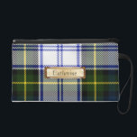 "Traditional Gordon Dress Family Tartan Plaid Wristlet<br><div class=""desc"">Stylish ladies wristlet done in the traditional Scottish Gordon Dress family tartan plaid pattern.  Graphics of a bronze tone text plaque,  on the front,  has black text ready to personalize.  Great for day to night use,  and makes a lovely gift idea to your favorite lass.</div>"