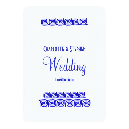 Traditional Greek Blue White Personalized Wedding Card