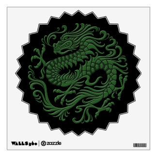 Traditional Green and Black Chinese Dragon Circle Wall Decal