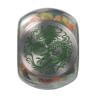 Traditional Green Chinese Dragon Circle Glass Jars