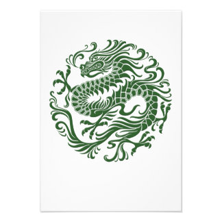 Traditional Green Chinese Dragon Circle Custom Announcements