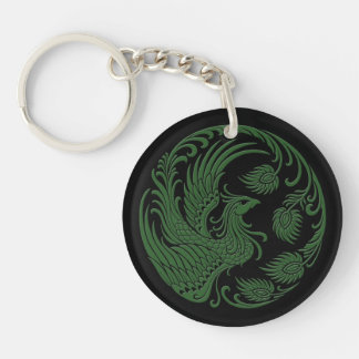 Traditional Green Phoenix Circle Keychain