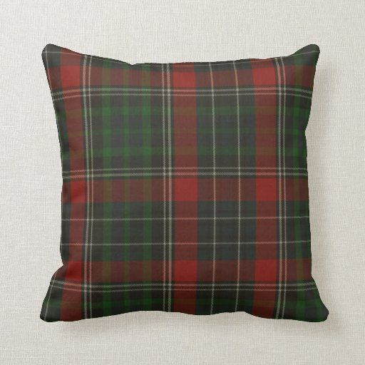 Traditional Green & Red Stuart Tartan Plaid Throw Pillow