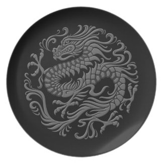 Traditional Grey and Black Chinese Dragon Circle Dinner Plate