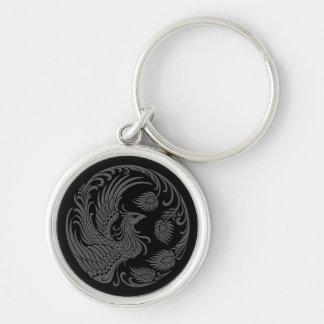 Traditional Grey Phoenix Circle on Black Keychain