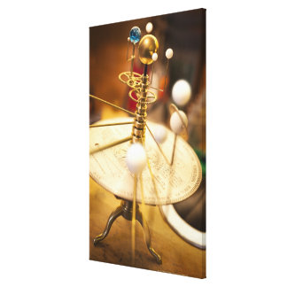 Traditional handcrafted brass orrery with the canvas print