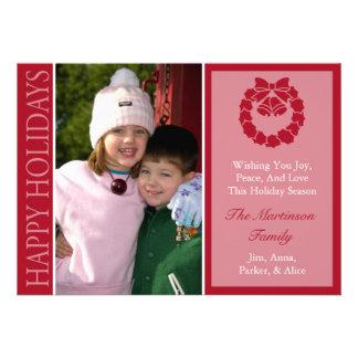 Traditional Happy Holidays Wreath Card Burgandy Custom Invitation