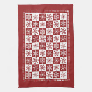 Traditional Holiday Christmas Red Snowflakes Hand Towel
