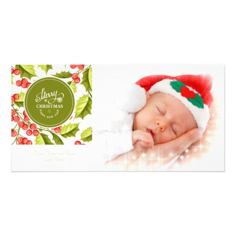 Traditional Holly Design Merry Christmas Photo Card