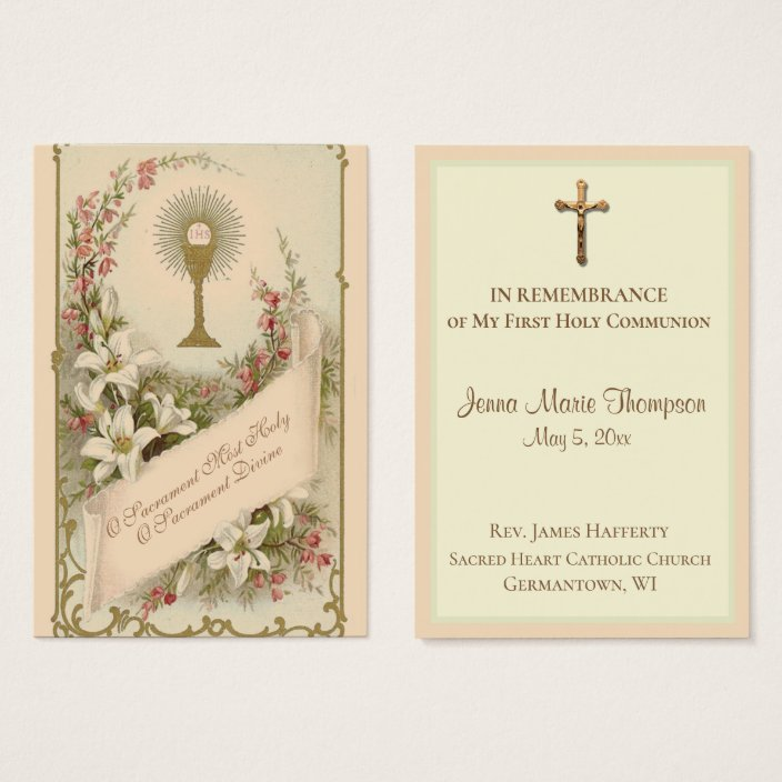 Traditional Holy Card Chalice First Holy Communion Zazzle.com