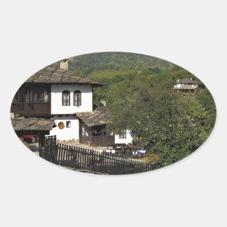 Traditional house in village Preserve Bojenci Oval Sticker
