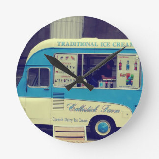 Traditional ice cream vintage cute truck round clock
