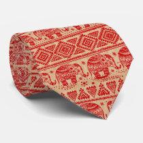 Traditional India Elephant Block Print Design Neck Tie