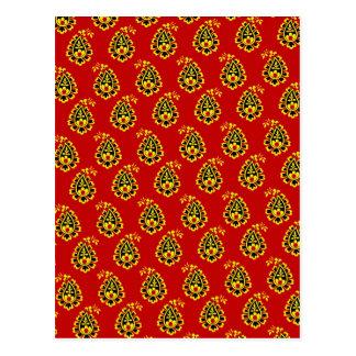 Traditional indian fabric design postcard