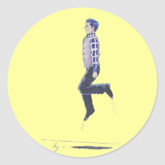 Traditional Irish Dancing Cartoon Classic Round Sticker