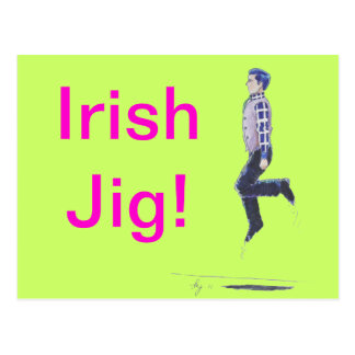 Traditional Irish Dancing Cartoon Postcard