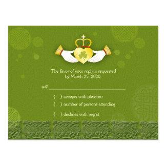 Traditional Irish Green Wedding RSVP (4.25x5.6) Postcard
