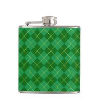 Traditional Irish Plaid Tartan Green Pattern Hip Flask