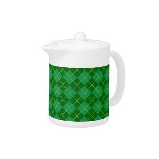 Traditional Irish Plaid Tartan Green Pattern Teapot