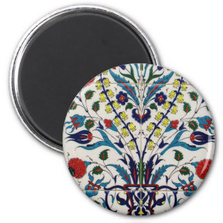 Traditional islamic floral design tiles 2 inch round magnet