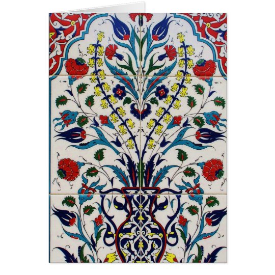 Traditional islamic floral design tiles card