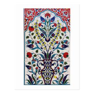 Traditional islamic floral design tiles postcard
