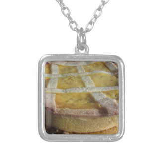 Traditional italian cake  Pastiera Napoletana Silver Plated Necklace