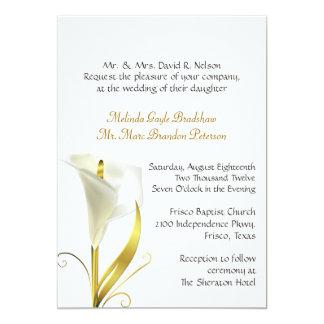 "Traditional Ivory Calla Lily Wedding Invitation 5"" X 7"" Invitation Card"