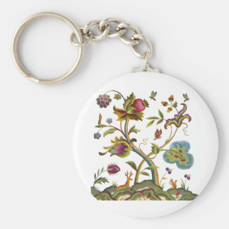 Traditional Jacobean Deerwood Embroidery Basic Round Button Keychain