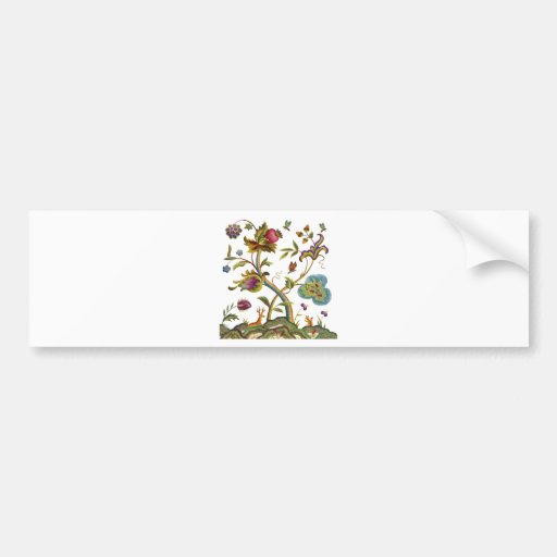 Traditional Jacobean Deerwood Embroidery Bumper Sticker