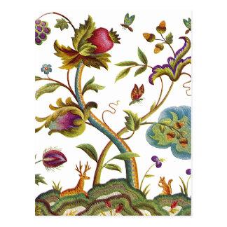 Traditional Jacobean Deerwood Embroidery Postcard