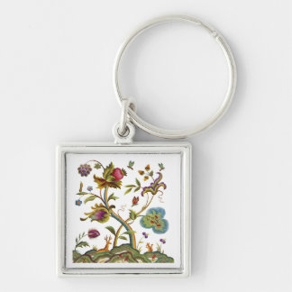 Traditional Jacobean Deerwood Embroidery Silver-Colored Square Keychain