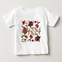 Traditional Jacobean Embroidery Pattern Baby T-Shirt
